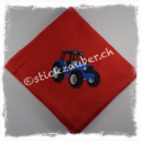 Traktor blau auf rot