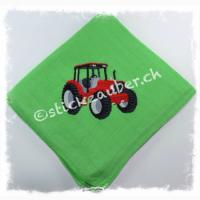 Traktor rot auf grün